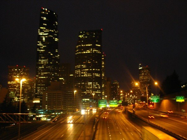 Seattle at night from a bridge over I-5.