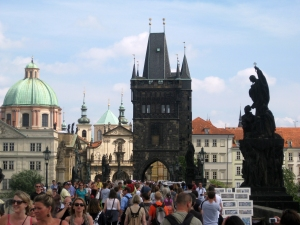 Busy Charles Bridge.